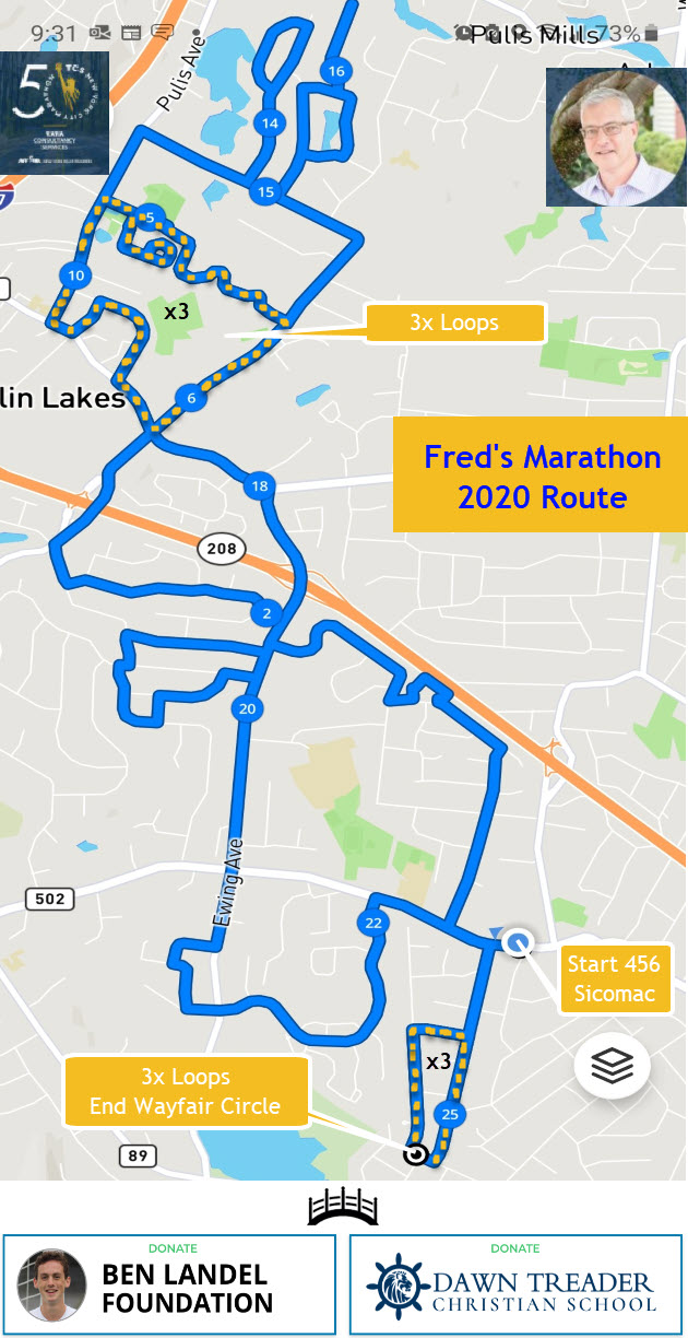 Fred Marathon 2020 Revised Route